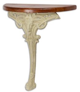 Casa Padrino Barock Beistelltisch Braun / Weiß 63 x 31 x H. 65,5 cm - Halbrunder Tisch mit Holzplatte und Gusseisen Bein - Barock Wandtisch