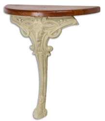 Casa Padrino Baroque Side Table Brown / White 63 x 31 x H. 65.5 cm - Semicircular Table with Wooden Top and Cast Iron Leg - Baroque Wall Table