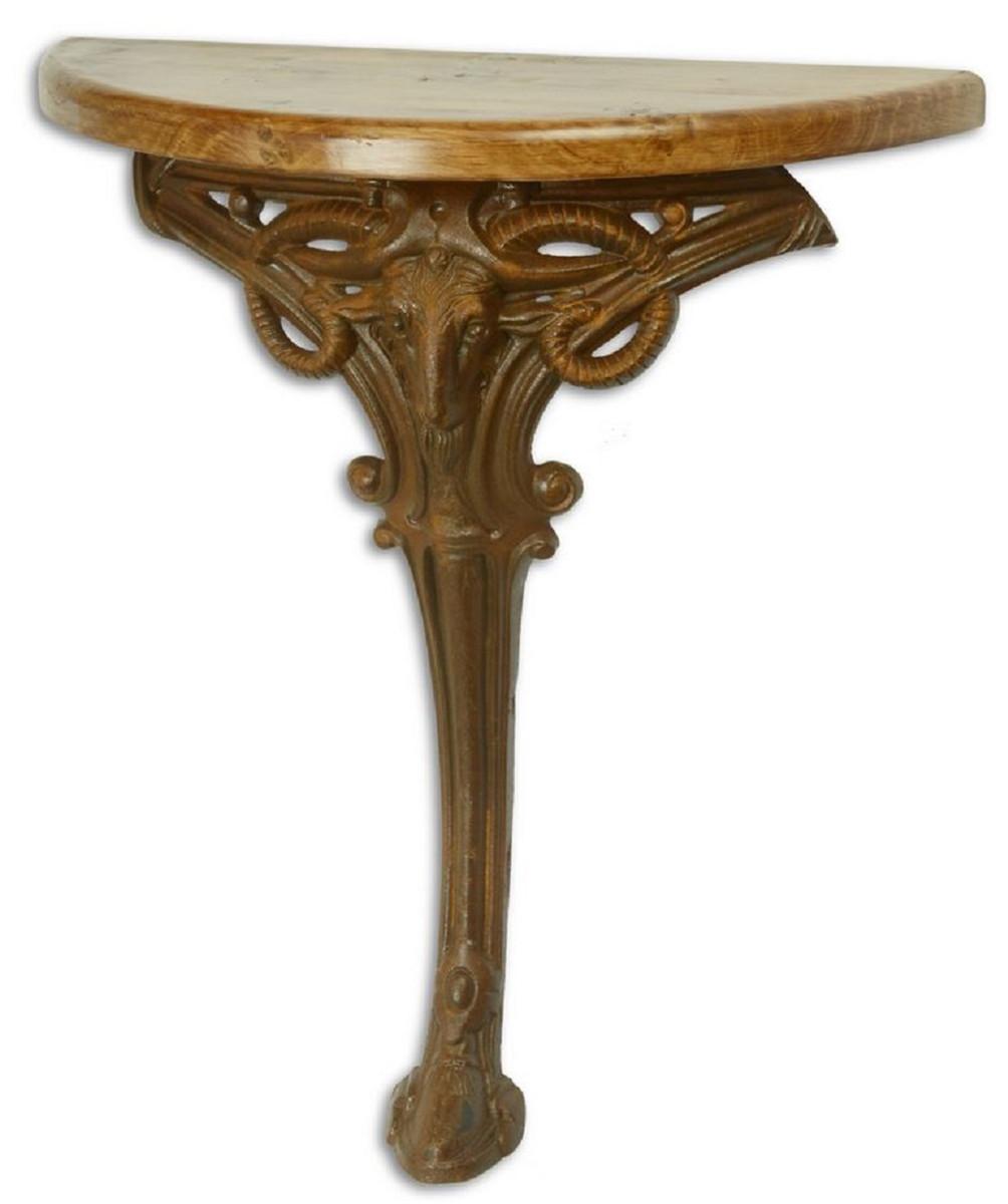 Casa Padrino Barock Beistelltisch Hellbraun / Rostfarben 63 x 31 x H. 65,5 cm - Halbrunder Tisch mit Holzplatte und Gusseisen Bein - Barock Wandtisch 1