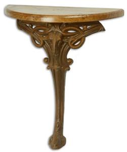 Casa Padrino Barock Beistelltisch Hellbraun / Rostfarben 63 x 31 x H. 65,5 cm - Halbrunder Tisch mit Holzplatte und Gusseisen Bein - Barock Wandtisch
