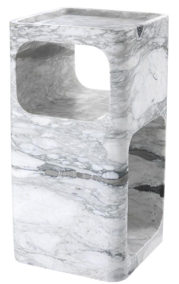 Casa Padrino Designer Marmor Beistelltisch Weiß 28 x 28 x H. 55 cm - Wohnzimmermöbel - Designer Möbel 1
