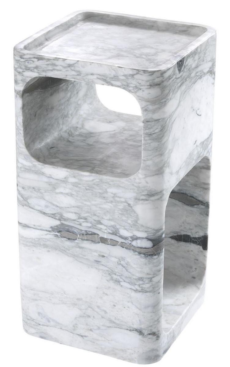 Casa Padrino Designer Marmor Beistelltisch Weiß 28 x 28 x H. 55 cm - Wohnzimmermöbel - Designer Möbel 2
