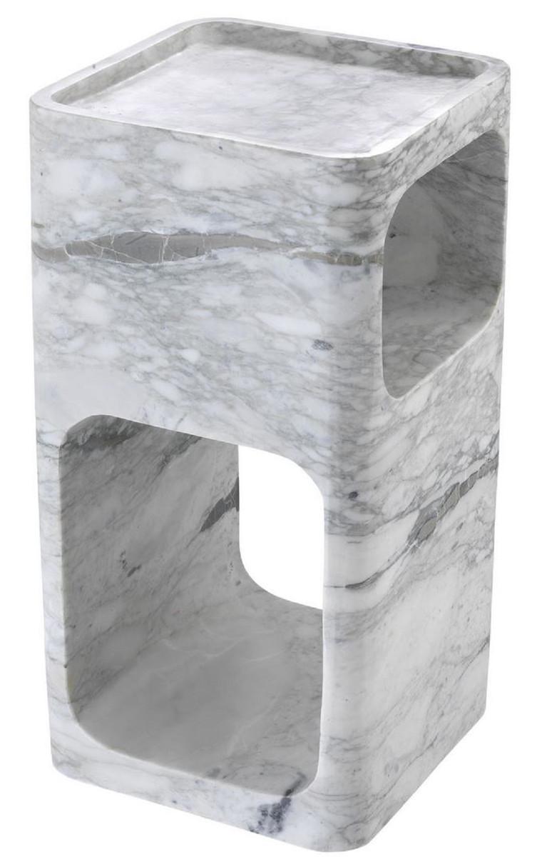 Casa Padrino Designer Marmor Beistelltisch Weiß 28 x 28 x H. 55 cm - Wohnzimmermöbel - Designer Möbel 3