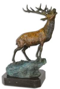 Casa Padrino Luxus Bronzefigur Hirsch auf Felsen Bronze / Blau / Schwarz 26,3 x 18,3 x H. 37,8 cm - Bronze Skulptur mit Marmorsockel