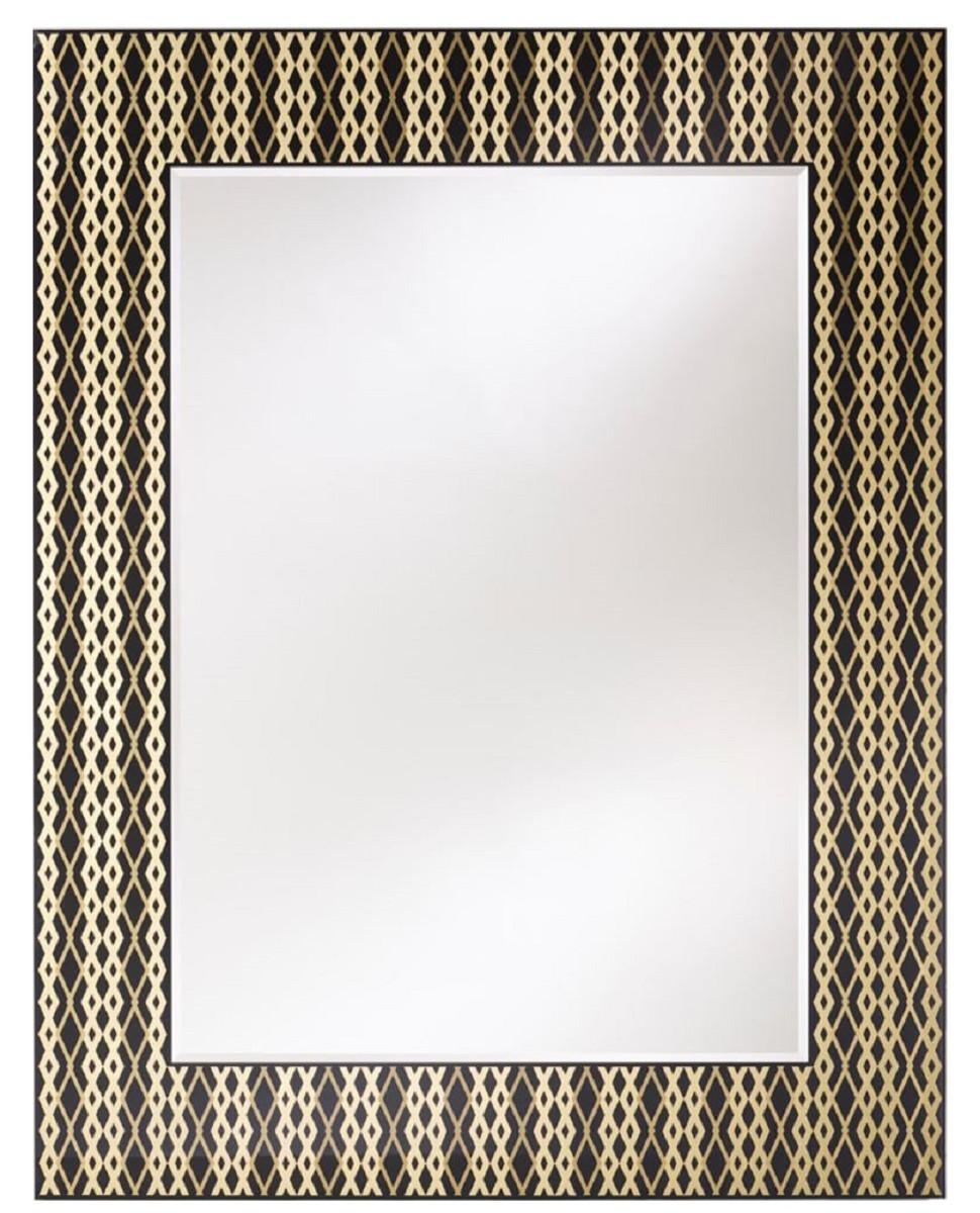 Casa Padrino Designer Wandspiegel Schwarz / Bronze / Gold 99 x H. 127 cm - Wohnzimmer Spiegel - Garderoben Spiegel - Luxus Qualität 1