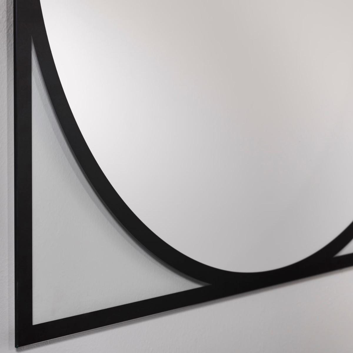 Casa Padrino Luxus Wandspiegel Schwarz 8 x H. 8 cm - Wohnzimmer Spiegel -  Garderoben Spiegel - Luxus Kollektion
