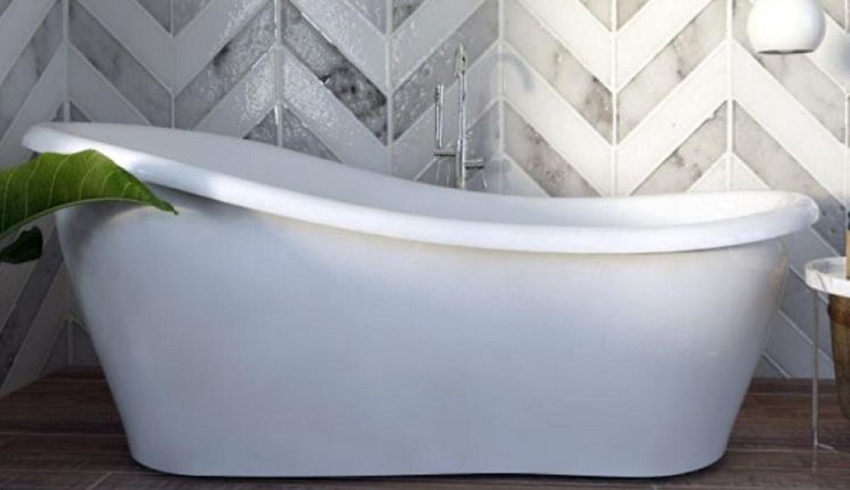 Casa Padrino Luxus Jugendstil Badewanne Weiß 170 x 80 x H. 70,5 cm - Freistehende Retro Antik Badewanne - Badezimmer Möbel 1