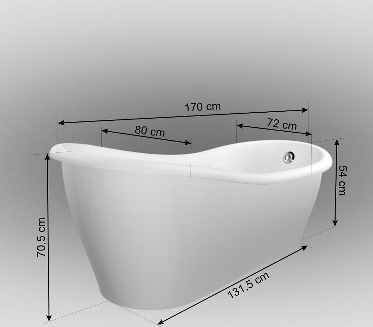 Casa Padrino Luxus Jugendstil Badewanne Weiß 170 x 80 x H. 70,5 cm - Freistehende Retro Antik Badewanne - Badezimmer Möbel 4