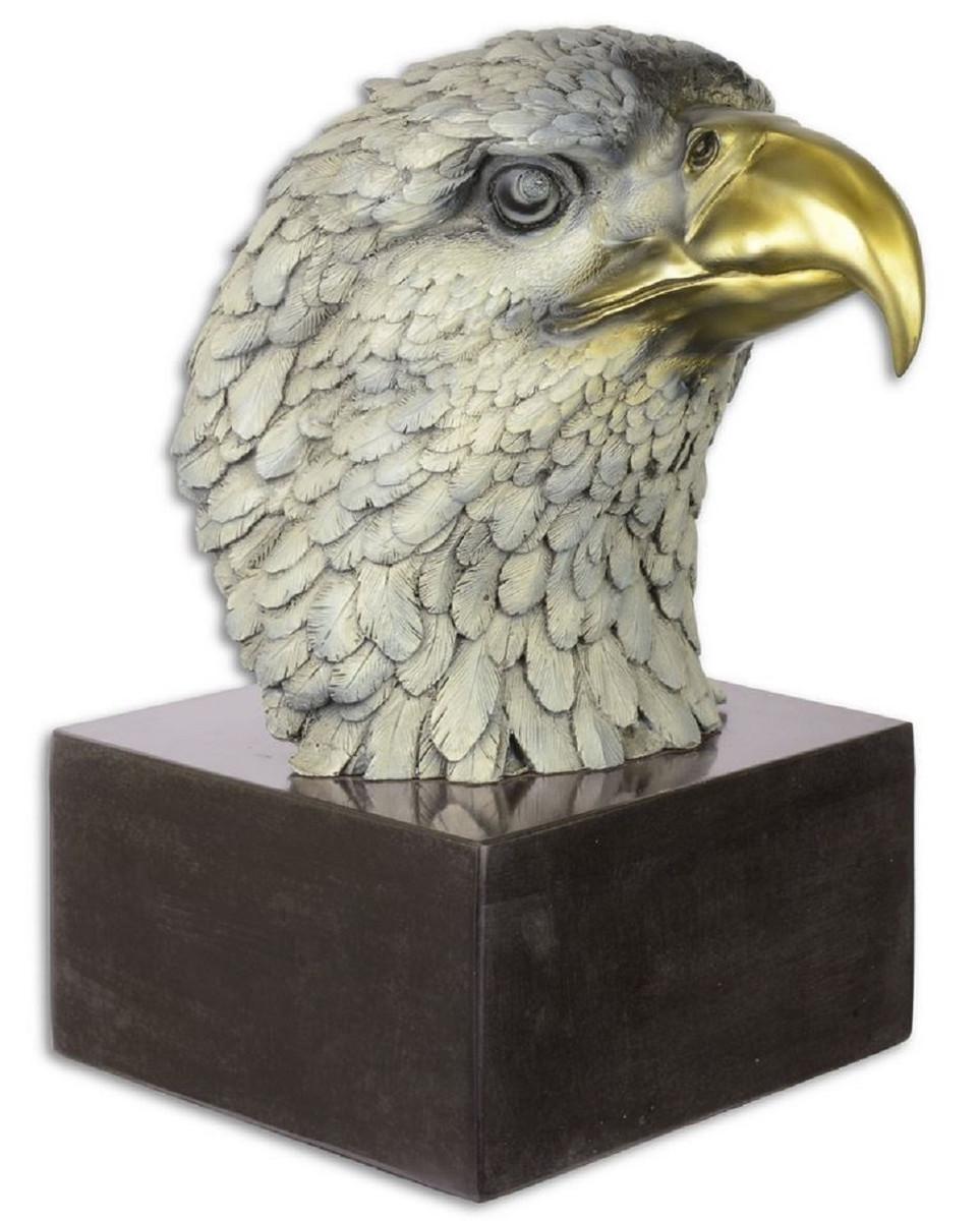 Casa Padrino Luxus Bronze Skulptur Adler Kopf Mehrfarbig / Schwarz 19,6 x 28 x H. 31,3 cm - Bronzefigur mit Marmorsockel - Deko Accessoires 1