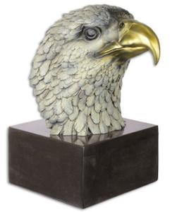 Casa Padrino Luxus Bronze Skulptur Adler Kopf Mehrfarbig / Schwarz 19,6 x 28 x H. 31,3 cm - Bronzefigur mit Marmorsockel - Deko Accessoires