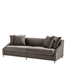 Casa Padrino Luxury velvet sofa gray / Brass 223 x 94 x H. 73 cm - Living Room Sofa with 4 Pillows - Luxury Furniture