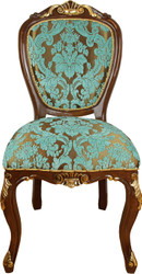 Casa Padrino Baroque Luxury Dining Chair Turquoise / Brown-Gold Antique Look - Luxury Hotel Furniture - Made in Italy