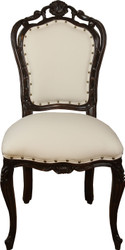 Casa Padrino luxury baroque dining chair in light cream / brown - Hotel Baroque stool - luxury quality