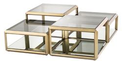 Casa Padrino Luxus Couchtisch Messingfarben 75 x 75 x H. 48 cm - Edelstahl Wohnzimmertisch mit Glasplatten und Spiegelglas - Luxus Wohnzimmer Möbel