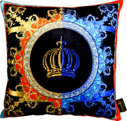 Harald Glööckler designer cushion Pompöös by Casa Padrino with rhinestones Crown - Art Collection -