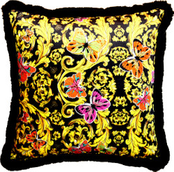 Harald Glööckler luxury pillow Pompöös by Casa Padrino Butterflies - Finest velvet fabric - Glööckler Decorative pillow with rhinestones