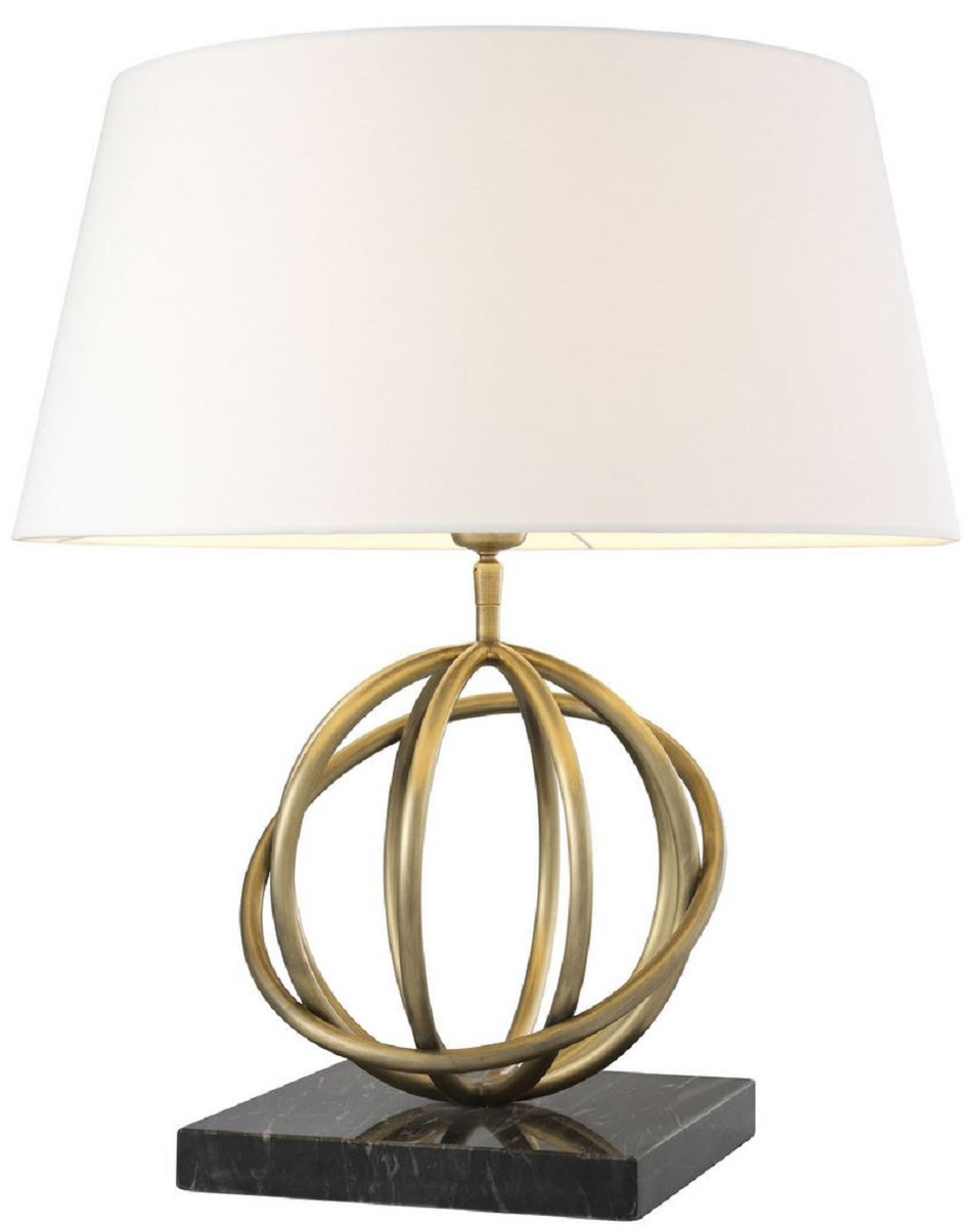 Casa Padrino Luxury Table Lamp Antique Brass Black White O 50 X H 57 Cm Brass Table Light With Marble Base And Round Lampshade