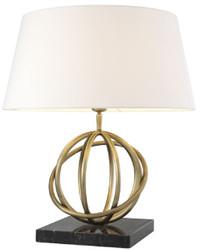 Casa Padrino Luxus Tischleuchte Antik Messing / Schwarz / Weiß Ø 50 x H. 57 cm - Messing Tischlampe mit Marmorsockel und rundem Lampenschirm