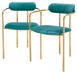 Casa Padrino luxury dining chairs with armrests turquoise / gold 53 x 50 x H. 74 cm - Kitchen Chairs with Fine Velvet Fabric - Dining Set - Dining Room Furniture