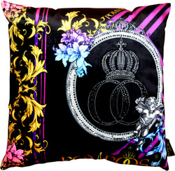 Harald Glööckler designer cushion Pompöös by Casa Padrino with rhinestones Purple / Black - Art Collection -