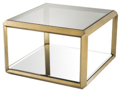 Casa Padrino luxury side table brass / black 75 x 75 x H. 55 cm - Stainless Steel Table with Glass Top and Mirror Glass - Luxury Living Room Furniture
