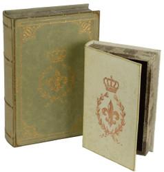 Casa Padrino Baroque Deko Books Set Green - 2 Deko Boxes in Books Optics - Baroque Decoration Accessories