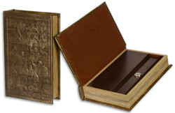 Casa Padrino baroque book safe with faux leather brown 17.5 x 5 x H. 26.5 cm - Baroque Decoration Accessories