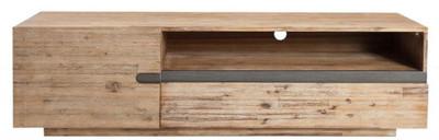 Casa Padrino Designer Fernsehschrank mit Tür und Schublade Naturfarben / Teakgrau 170 x 42 x H. 46 cm - Sideboard - Handgefertigt aus Massivholz! – Bild 1
