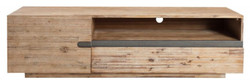 Casa Padrino designer TV cabinet with door and drawer natural / teak gray 170 x 42 x H. 46 cm - Sideboard - Handmade from Solid Wood!
