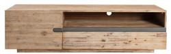 Casa Padrino Designer Fernsehschrank mit Tür und Schublade Naturfarben / Teakgrau 170 x 42 x H. 46 cm - Sideboard - Handgefertigt aus Massivholz!