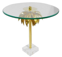 Casa Padrino designer side table palm brass Ø 55 x H. 55 cm - Round Steel Table with Glass Plate and Acrylic Foot - Living Room Furniture