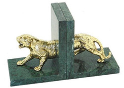 Casa Padrino Bookends Set Tiger Antique Brass / Green 29 x 10 x H. 18 cm - Marble Bookends with Brass Figurine - Decorative Accessories