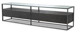 Casa Padrino Luxury TV Cabinet Gray / Black 220 x 46 x H. 56.5 cm - Sideboard with Glass Top and 2 Drawers - Luxury Living Room Furniture
