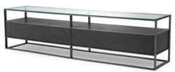 Casa Padrino Luxus Fernsehschrank Grau / Schwarz 220 x 46 x H. 56,5 cm - Sideboard mit Glasplatte und 2 Schubladen - Luxus Wohnzimmer Möbel