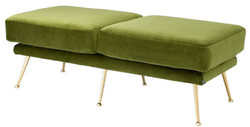 Casa Padrino luxury bench green / brass 125 x 58 x H. 45 cm - Luxury Furniture