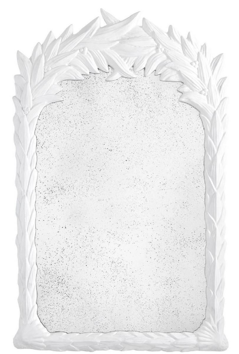 Casa Padrino Luxus Spiegel Weiß / Antikes Spiegelglas 8 x 8 x H. 8 cm -  Wandspiegel im Kolonialstil - Luxus Kollektion