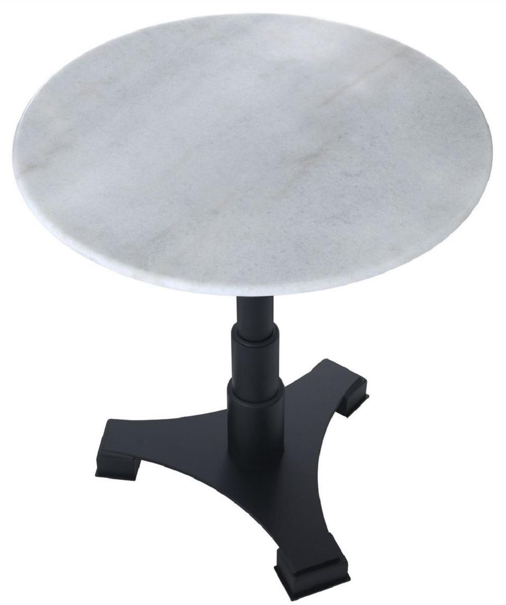 Casa Padrino Luxus Esstisch Weiß Schwarz Ø 70 x H. 75 cm Küchentisch mit runder Marmorplatte Esszimmer Möbel