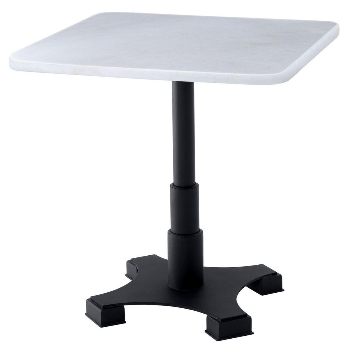Casa Padrino Luxus Esstisch Weiß Schwarz 75 x 75 x H. 75 cm Küchentisch mit quadratischer Marmorplatte Esszimmer Möbel |