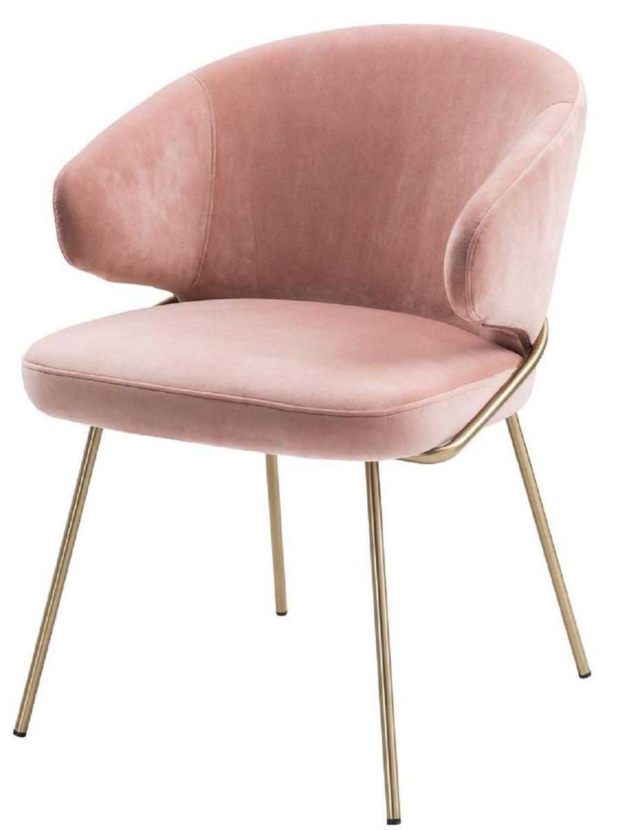 Casa Padrino Luxus Esszimmerstuhl mit Armlehnen Rosa / Messingfarben 60 x 64 x H. 81 cm - Küchenstuhl mit edlem Samtstoff - Esszimmermöbel 1