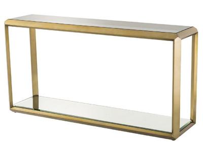 Casa Padrino Luxus Konsole Messingfarben / Schwarz 150 x 40 x H. 78 cm - Edelstahl Konsolentisch mit Glasplatte und Spiegelglas - Luxus Wohnzimmer Möbel
