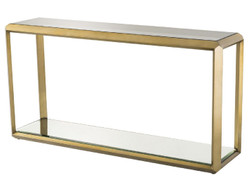 Casa Padrino luxury console brass / black 150 x 40 x H. 78 cm - Stainless Steel Console Table with Glass Top and Mirror Glass - Luxury Living Room Furniture