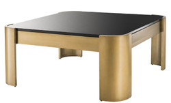Casa Padrino luxury coffee table brass / black 100 x 100 x H. 46 cm - Stainless Steel Coffee Table with Glass Top - Luxury Collection