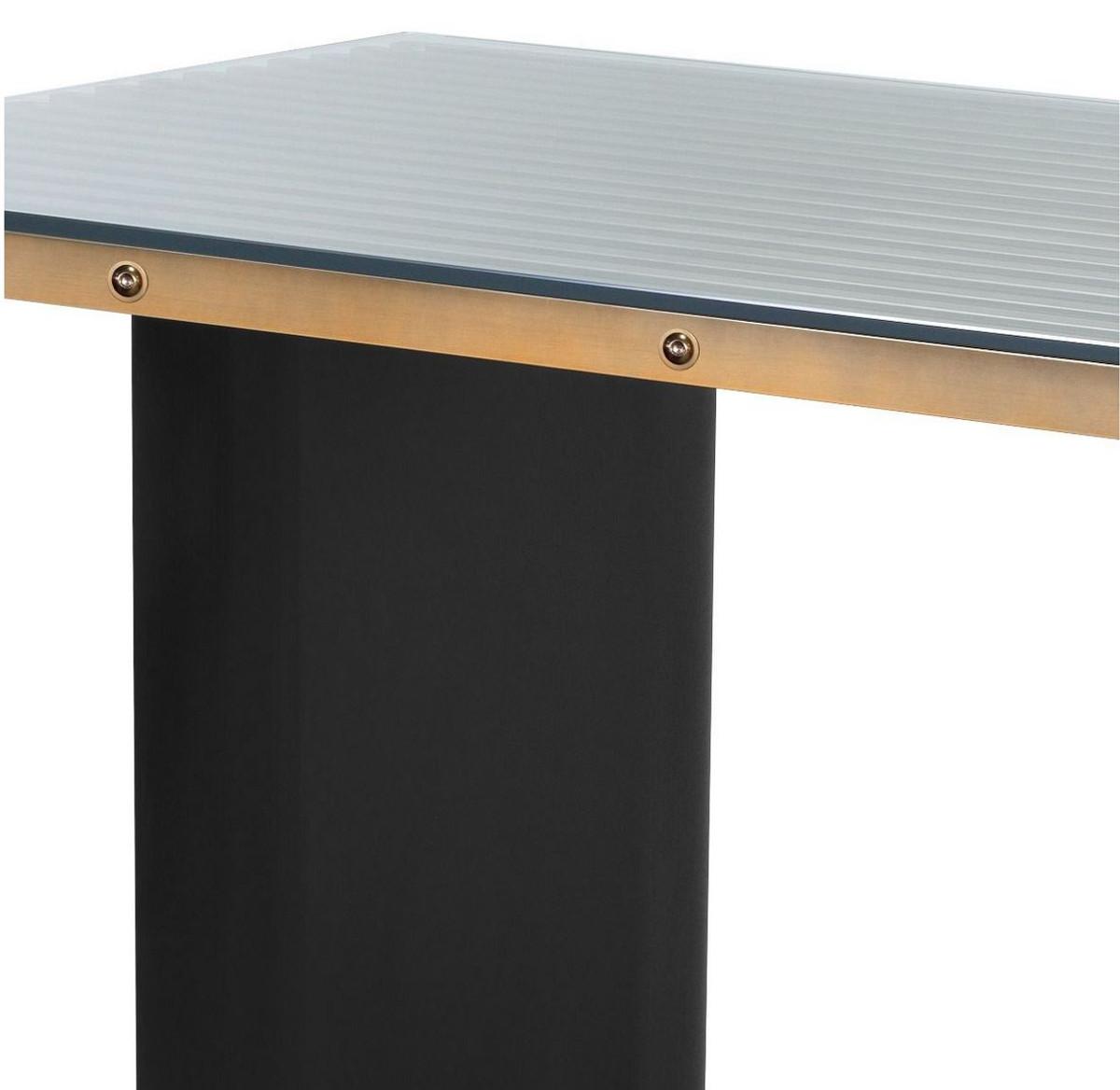 Casa Padrino Luxus Schreibtisch mit Glasplatte Messing / Schwarz 180 x 78,5 x H. 76 cm - Luxus Qualität - Büromöbel 3