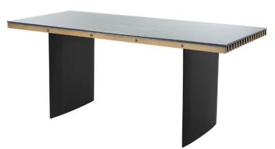 Casa Padrino Luxus Schreibtisch mit Glasplatte Messing / Schwarz 180 x 78,5 x H. 76 cm - Luxus Qualität - Büromöbel