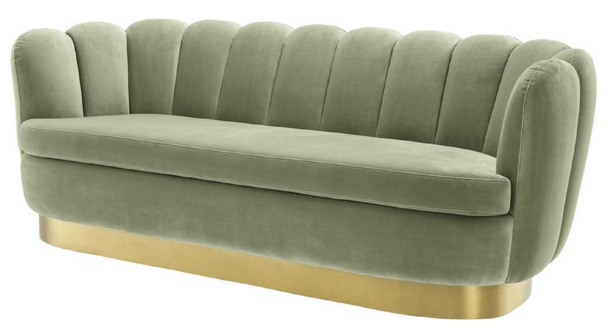 Casa Padrino Luxus Samt Sofa Pistaziengrün / Messingfarben 225 x 90 x H. 80 cm - Wohnzimmer Sofa - Luxus Qualität 1