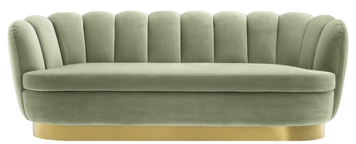 Casa Padrino Luxus Samt Sofa Pistaziengrün / Messingfarben 225 x 90 x H. 80 cm - Wohnzimmer Sofa - Luxus Qualität 2