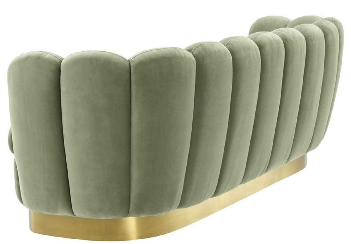 Casa Padrino Luxus Samt Sofa Pistaziengrün / Messingfarben 225 x 90 x H. 80 cm - Wohnzimmer Sofa - Luxus Qualität 3