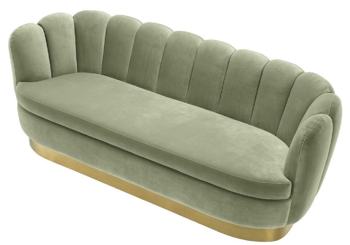 Casa Padrino Luxus Samt Sofa Pistaziengrün / Messingfarben 225 x 90 x H. 80 cm - Wohnzimmer Sofa - Luxus Qualität 4