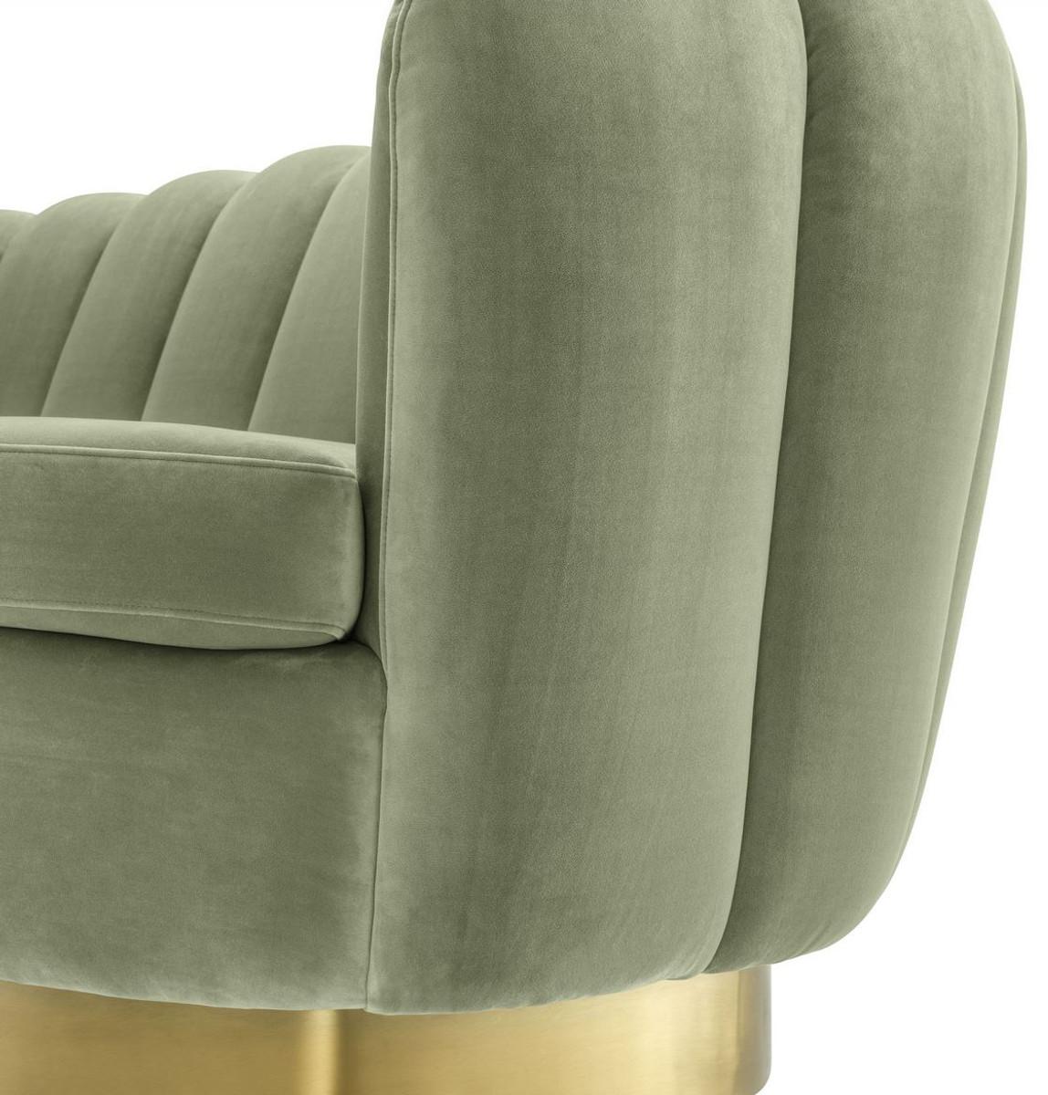 Casa Padrino Luxus Samt Sofa Pistaziengrün / Messingfarben 225 x 90 x H. 80 cm - Wohnzimmer Sofa - Luxus Qualität 5