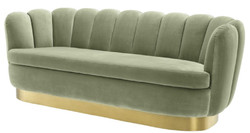 Casa Padrino luxury velvet sofa pistachio green / brass 225 x 90 x H. 80 cm - Living Room Sofa - Luxury Quality